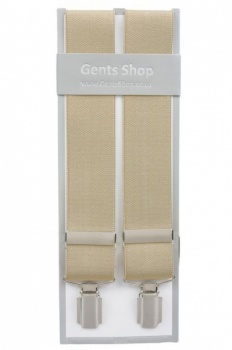 Plain Beige Mens Elastic Trouser Braces With Silver Coloured Feather Edged Clips - Available In 3 Sizes